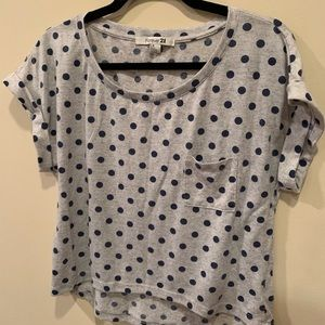 Grey Top with Blue Polkadots